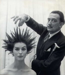 Salvador Dali does her hair