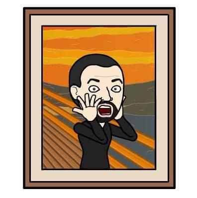 AHomo Bitmoji version of The Scream