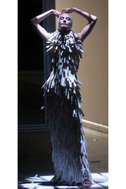 Dress made of razor-clam shells