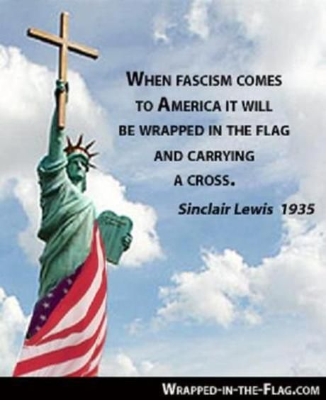 FASCISM WRAPPED IN FLAG AND HOLDING CROSS