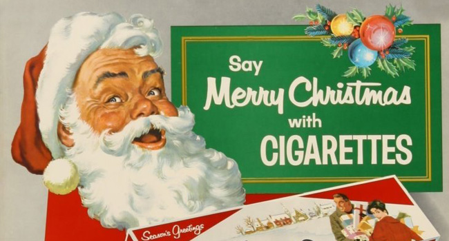 Santa says Merry Christmas with Cigarettes