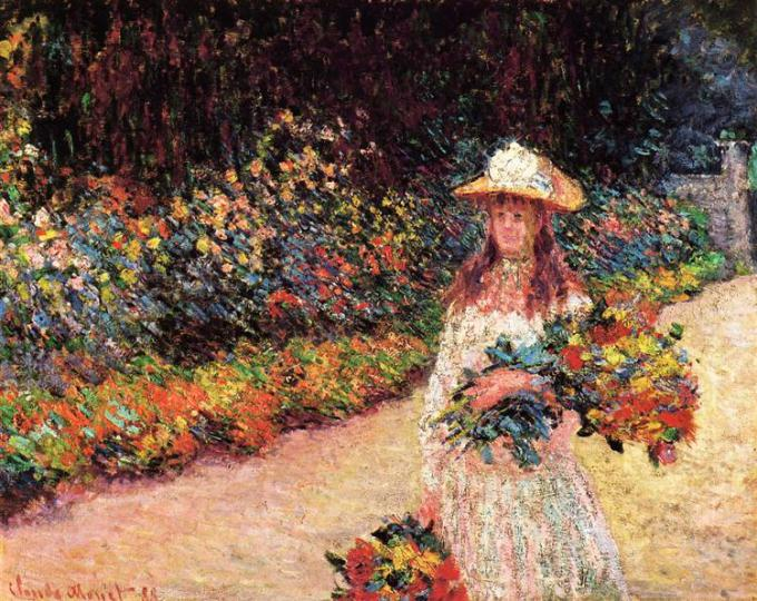 Young Girl In the Garden in Giverny - Claude Monet  1888