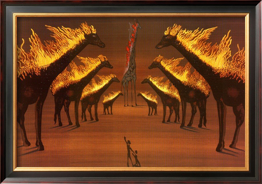 Salvador Dalí, Burning Giraffes in Brown also known as Giraffe Avignon, 1975, private collection