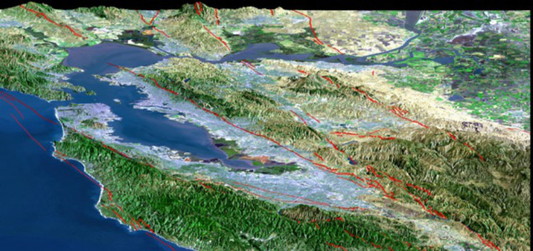 San Francisco Bay Area is riddled with fault lines (drawn in red) US Geological Survey