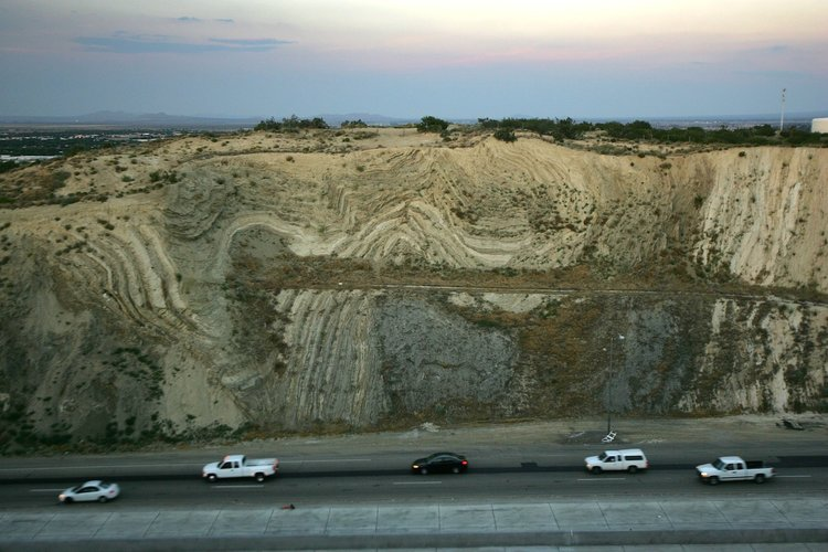California's Antelope Valley freeway passes near folded layers of sediment above the San Andreas Fault. David McNew/Getty Images