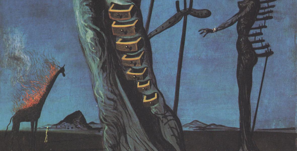 Detail from Salvador Dali The Burning Giraffe 1937, Kunstmuseum Basel