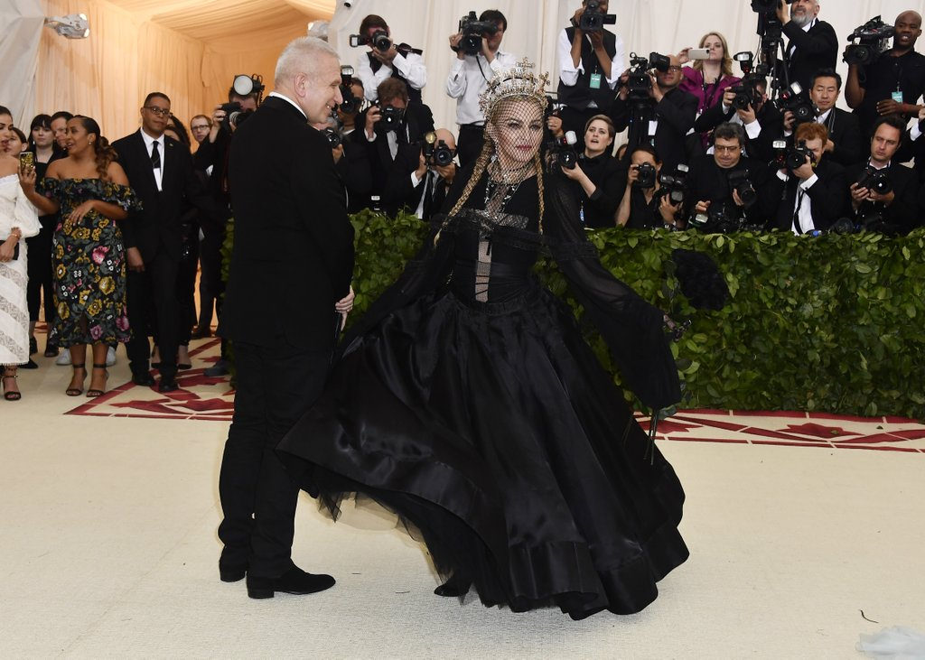 Madonna wearing Gaultier at the Met Gala 2018