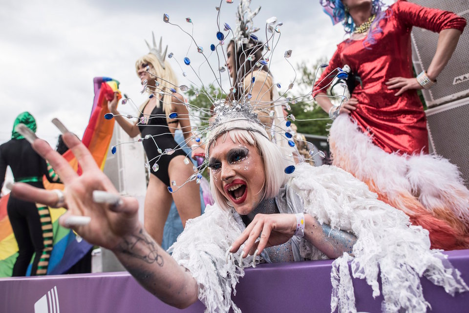 Gay and lesbian rights activists perform during the annual Gay Pride parade in Kiev, Ukraine, Sunday, June 17, 2018. AP